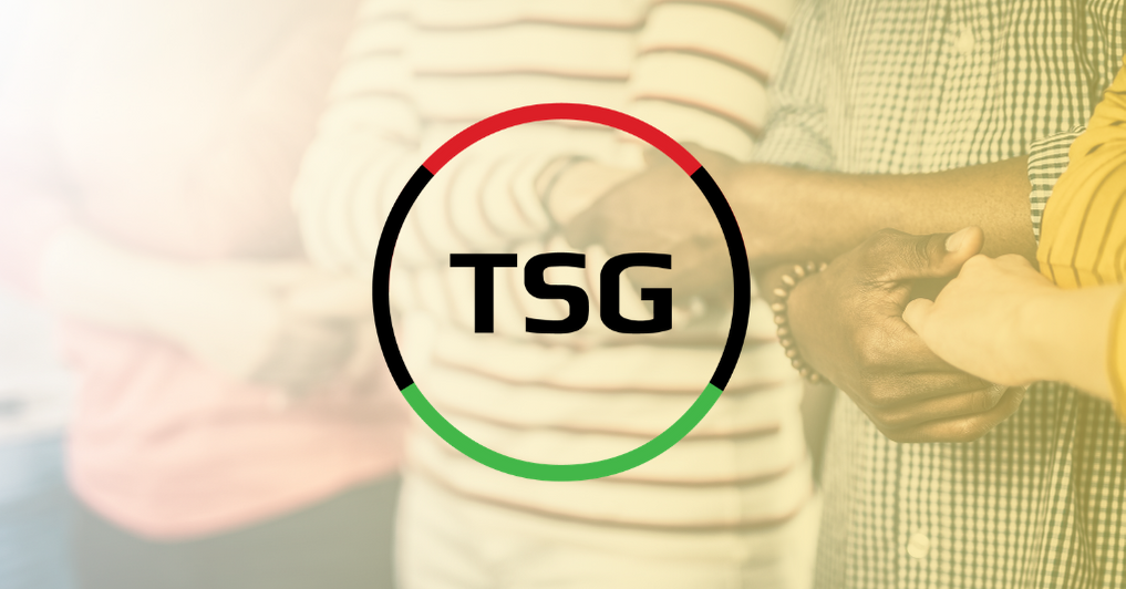 TSG Black History Month logo over an image of diverse group interlocking hands