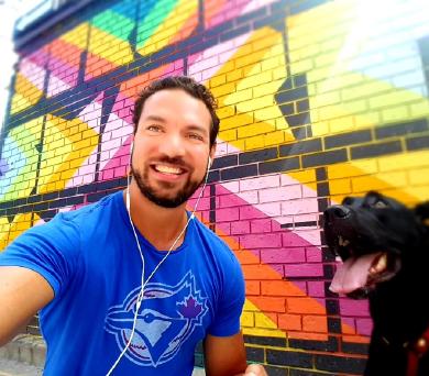 Javier Davila and his dog Luna